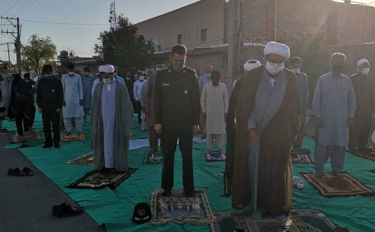 نماز عید قربان با رعایت پروتکل های بهداشتی در ریگان اقامه شد